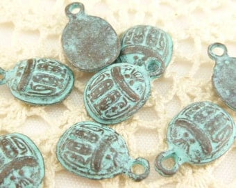 Rustic,  Patina Egyptian Scarab Beetle Charms - Mykonos Casting Beads (4) - M75 - X0234