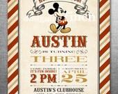 Mickey Mouse Vintage Birthday Invitation  #144