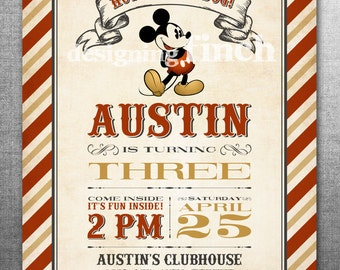 Mickey Mouse Vintage Birthday Invitation  #144
