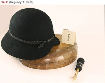 Hat on Sale Black Cloche Hat , Womens Cloche Felt Hat