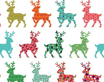 Fat Quarter Christmas Festive Reindeer Cotton Quilting Fabric Makower 1492 1