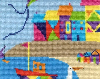 Beach Houses Cross Stitch Kit By DMC Using 14 Count Size 20cm Square BK1556