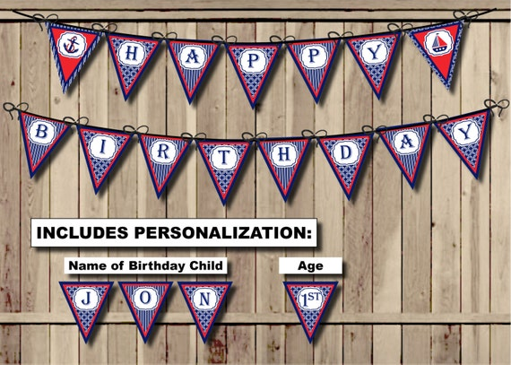 Nautical Birthday Banner Anchor Happy Birthday banner Sailor