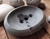 soap dish - hand cutted sea pebble - unique piece
