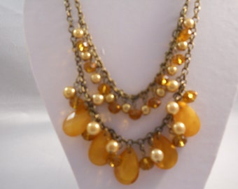 2 Row Bronze Tone Chain Bib Necklace with Light Brown, Brown Chrystle and Pearl Bead Pendants