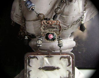 Intrigue, vintage purse necklace, assemblage necklace, gemstone rhinestone necklace, vintage rose brooch, coin purse, anvilartifacts, pearl