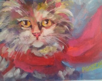 Painting of Cat by Pamela Gatens Art Wall Hanging