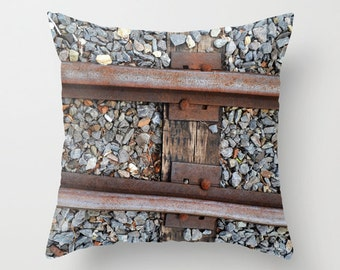 Photo Pillow Cover Decorative Train Tracks Pillow Rustic Pillow Train Pillow
