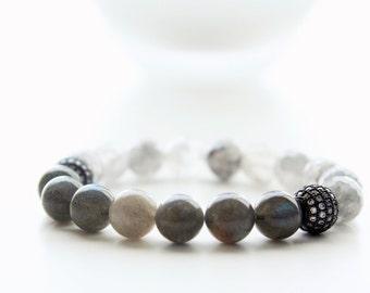 Labradorite and Grey Jade Faceted Black Pave Beaded Bracelet
