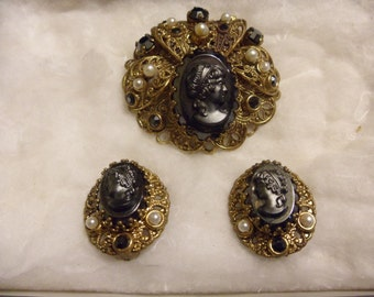 Hematite Stone Cameo Brooch With Matching Earrings, Black Rhinestones and Faux Pearls, Signed West Germany