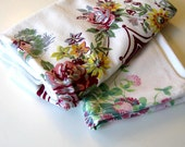 Lot of 2 Mid Century Floral Vintage Tablecloths, Cotton, Useable or Cutters, Kitchen Linens, Mother's Day, Retro collectible