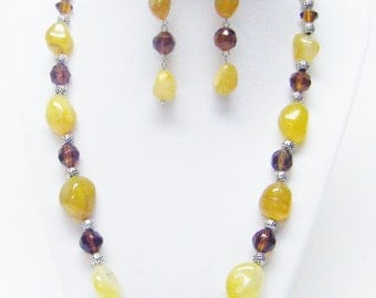 Amber Chunky Assorted Gemstone Nuggets Necklace & Earrings Set