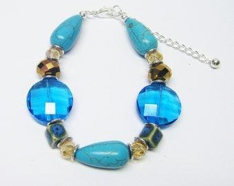 "Colorful Splash Glass & Ceramic Bead Bracelet (8"", No Stone, Silver Plated)"