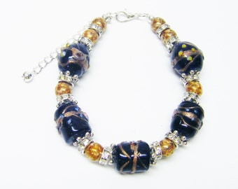 "Dark Blue Lamp Work w/White Opaque Bronze Beaded Bracelet (8"", Silver Plated)"