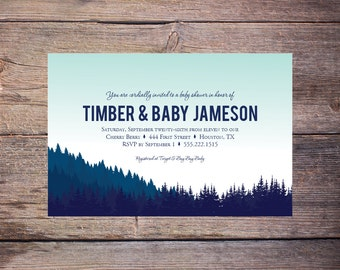 Printable Mountain Baby Shower Invitation in Navy and Mint - Traditional Rustic - Woods or Mountain Party Invitation -  DiY Printable Invite