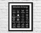 décor maison, décor salle de lavage, instructions de lavage, icones lavage, french home decor, french poster, laundry room icons