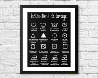 décor maison, décor salle de lavage, instructions de lavage, icones lavage, french home decor, french poster, laundry room icons