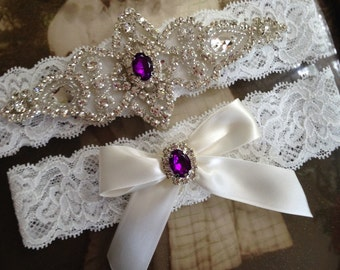 Wedding Garter-Garters-Bridal Garter-Purple-Blue-Pearl garter-Keepsake-Something blue-Ivory Lace-Garter-bridal white-off-white-ivory