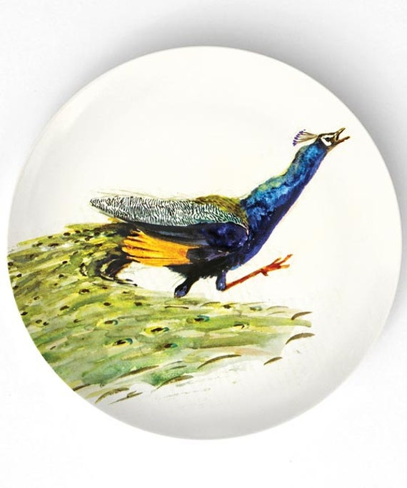 Peacock chasing butterfly melamine plate