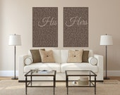 Mr and Mrs Wedding Vows Wall Art, set of 2 His and Hers, Wedding Canvas Art Print, Custom Words