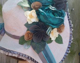 1830s Teal Rose Bonnet