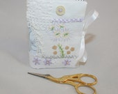 Patchwok Needle book in lilac and white - recycled from vintage table linen with stitching by Lynwoodcrafts