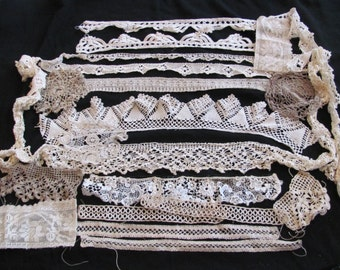 Antique Crocheted Lace Sewing Trim Pieces Lot - Assorted Designs Patterns
