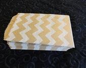25 Mini Kraft and White Chevron 3x5 inch Flat Paper Bags  Cute 3.25x5.25 Kraft Goodie Favor Bags, Itty Bitty bags, Wedding bags,candy buffet