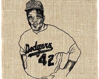 Jackie Robinson Unframed, Brooklyn Dodgers, Illustration, Baseball Art, Burlap Wall Decor