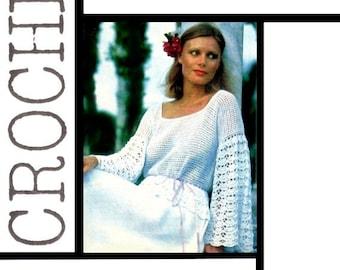Vintage 70's Crochet Blouse - PDF Pattern - Digital Pattern