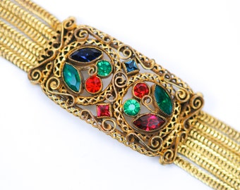 Czech Bracelet Rhinestone Gilt Filigree Red Green Blue 1920s Vintage Art Deco