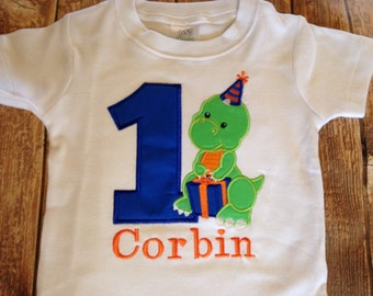 Boys first birthday dinosaur custom embroidered  bodysuit or shirt