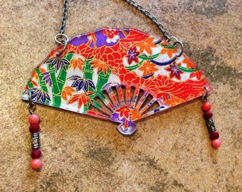 Japanese Fan - Statement Necklace - Unique Engraved Designs - Maiko - Geisha - laser cut necklace - origami