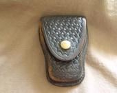 Tex Shoemaker & Sons Vintage Black Basketweave Leather Handcuff Holder