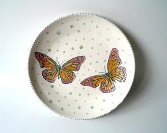Ceramic Serving Platter, Plate in Satin White with Hand Painted Butterflies, Blue and Green Dots, Wedding Gift, Valentine's Day, StudioLind
