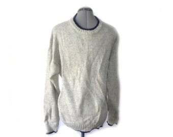 FINAL SALE Woolrich 100% wool men's crewneck pullover in Gray - L -marled silver navy cuffed sweater