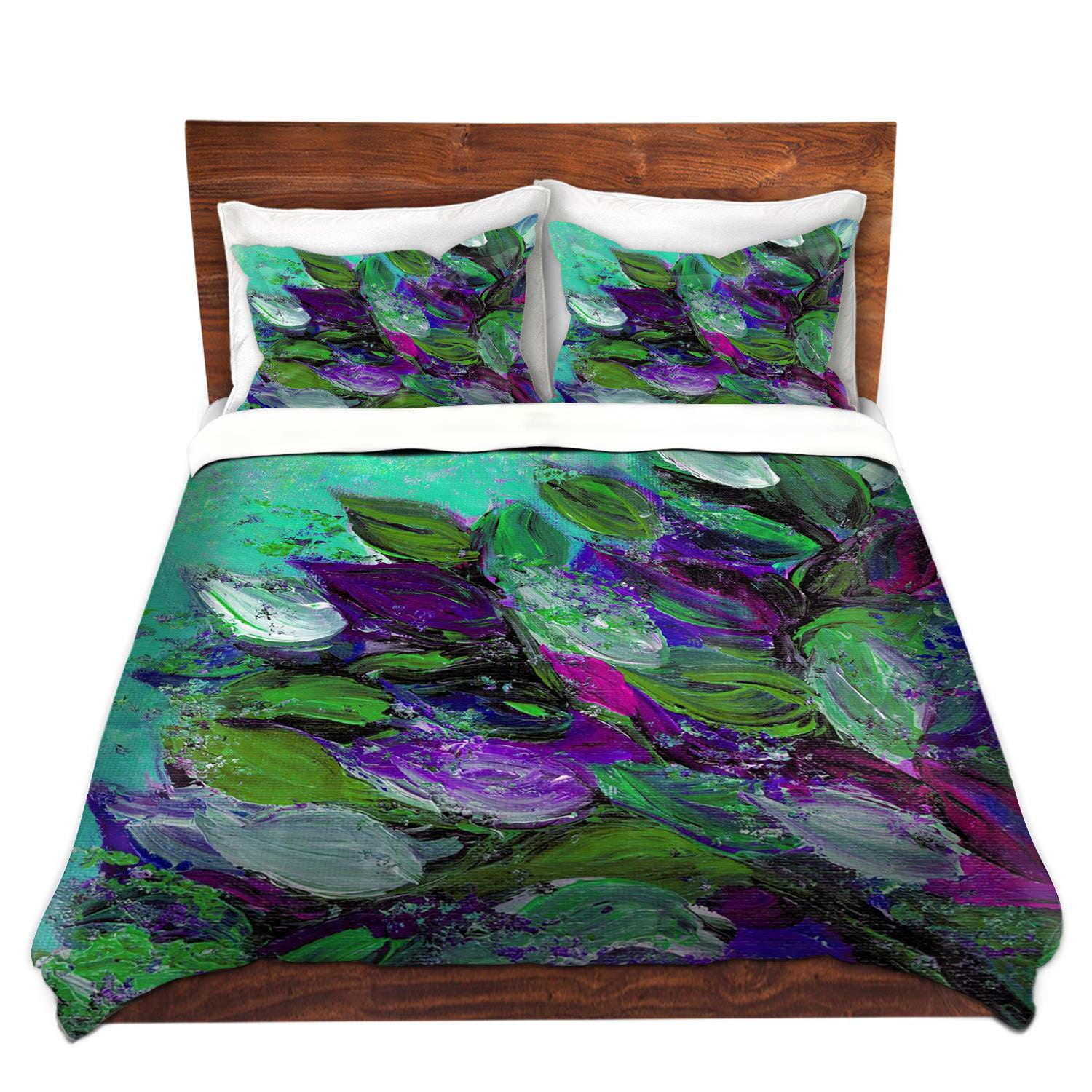 Blooming Beautiful Floral Art Duvet Covers King Queen Twin Size Mint Seafoam Green Plum Purple Home
