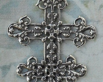 Cross of Lorraine Catholic Medal Rosary Parts Supplies Jewelry