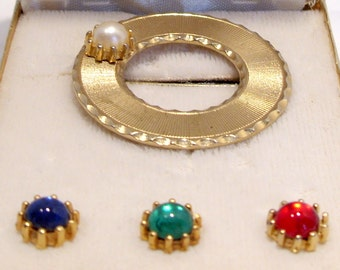 Beau Jewels Convertible Brooch 1950's Original Box