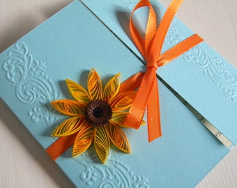 Sunflower and blue wedding invitation / Sunflower invitation / Sunflower and teal wedding invitation /Unique sunflower invitation