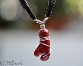 Unique Men Necklace Red Bamboo Coral Black Suede Leather Sterling Silver Wire Wrap Pendant Organic Mens Jewelry Nautical Gift For Him