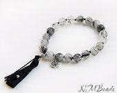 Boho Black Rutilated Quartz Knotted Bracelet With Black Tassel, Sterling Silver, Gemstone Jewelry, Mala Style, Celtic Knot Charm
