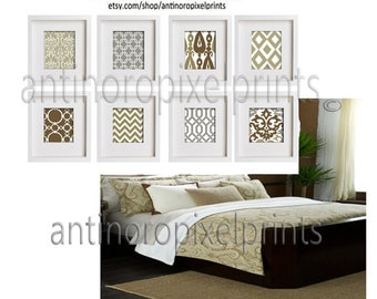 Tan Beige Grey and White Wall Art Modern Pictures - Set of (8) - 9 x 9 Prints -  (UNFRAMED) #116592028
