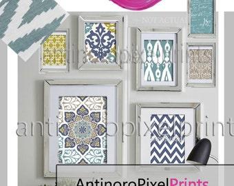 Dusty Blue Khaki Green Ikat Collage Art Wall Gallery Digital Print  -Set of (7) -  Prints - (1) 11x14,(1) 8x10, (2) 5x7 (3) 4x6 (UNFRAMED)