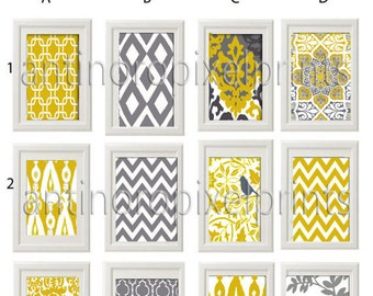 Art Golden Yellow Grey Wall Art Prints -Pick Any (3) Any Color - 8x10 Prints -  Dark Yellow Greys White  (UNFRAMED)