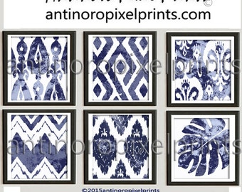 Ikat Watercolor Giclee Navy Light Blue White Ikat  Damask Prints, Set of (6) Wall Art Prints Custom Colors Available 240311353