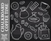 BUY 1 GET 1 FREE - Chalkboard Coffee Time Clip Art - Coffee, Cup, Donuts, Cupcake, Coffee Beans, Pot Clip Art. Commercial and Personal use
