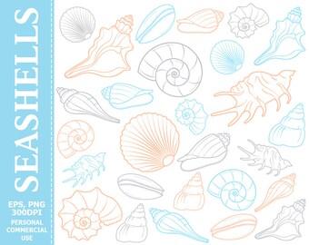 50% OFF SALE Digital Seashells Clip Art - Sea, Seashell, Ocean, Beach, Sea Life, Colorful Clip Art
