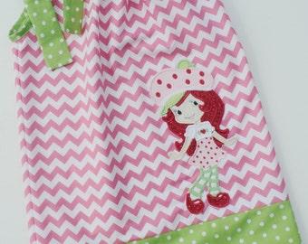 Custom Boutique Strawberry Shortcake Inspired Chevron Pillowcase dress Only  Sizes 0-6mo, 6-12mo, 12-18mo, 18-24mo, 2t, 3t, 4t, 5/6, 7/8