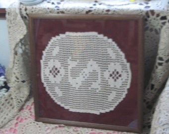 Vintage Crocheted Dollie in Frame